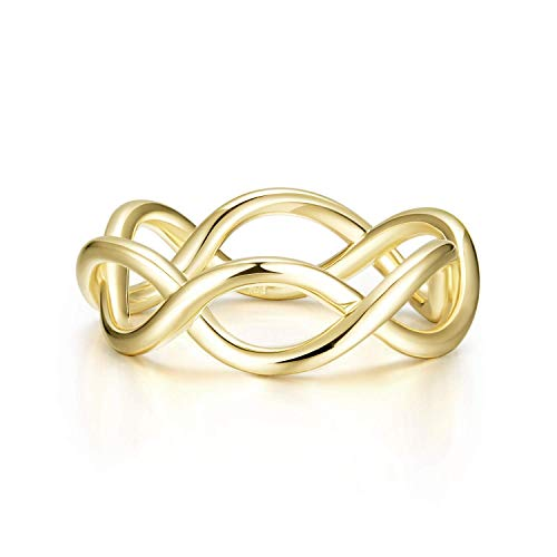 AGVANA Yellow Gold Filled Infinity Ring Criss Cross Endless Love Ring Fashion Jewelry Gifts for Women Girls Size 5