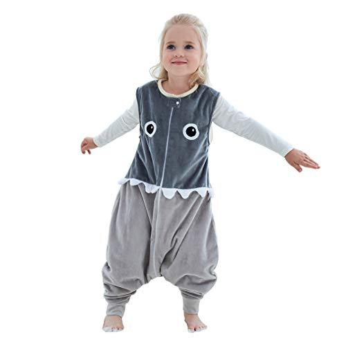 IDGIRLS Unisex Baby Warm Wearable Blanket Toddler Sleeping Bag with Legs 3 Season Grey for 5-6 Years
