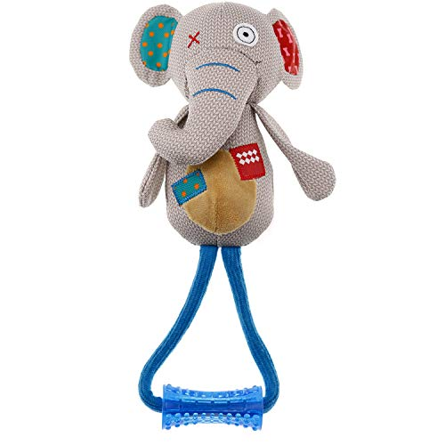 Rubber Dog Plush Toy (Miuiui Plush Squeak Toy for Dogs, Super Cute Stuffed Elephant with Squeaker Rubber and Rope Best for Small and Large Dogs Chewing and Playing Tug of War)