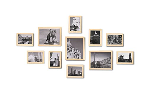 WOOD MEETS COLOR Wall Photo Frames With Real Glass, Including White Picture Mats and Installation Instruction, SET of 11 Collage Frames (Original Color)
