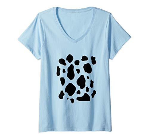 Womens Cow Print Costume Tee Funny & Cute Animal Halloween Gift  V-Neck T-Shirt]()