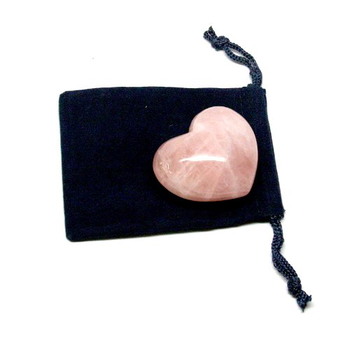 Large Hand Carved Gemstone Heart Rose Quartz
