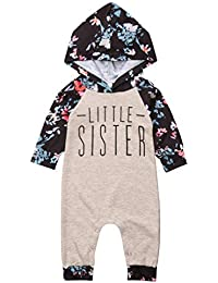 7699fc2fd2c3 Baby Girl Sister Match Floral Clothes Long Sleeve Floral Bodysuit Hooded  Sweatshirts Top Kids Jumpsuit Romper