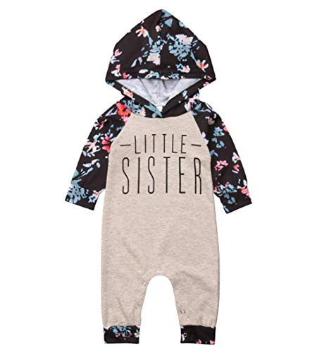 Baby Girl Sister Match Floral Clothes Long Sleeve Floral Bodysuit Hooded Sweatshirts Top Kids Jumpsuit Romper Outfit (Ligth Brown Romper, 18-24 ()
