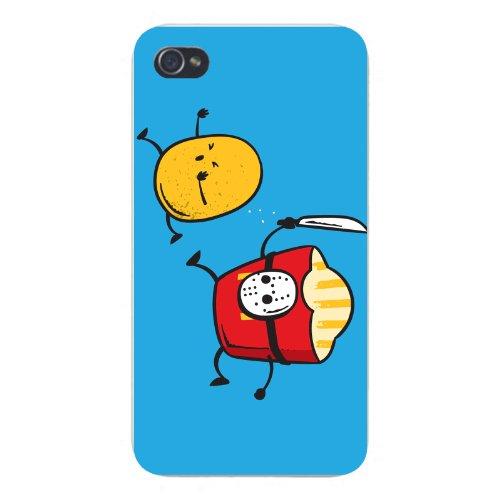 Apple iPhone Custom Case 5 / 5S White Plastic Snap On - French Fried Jason Funny Horror Film -