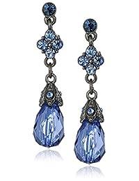 1928 Jewelry Hematite-Tone Blue Drop Earrings