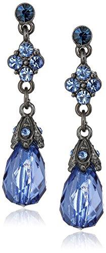 - 1928 Jewelry Hematite-Tone Blue Drop Earrings