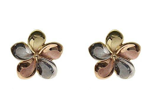 14K solid tricolor gold Hawaiian 11mm plumeria flower stud earrings by Arthur's Jewelry