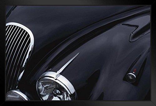 Black Jaguar Sports Car Hood Showing Chrome Grill and Headlight Photo Art Print Framed Poster 20x14 inch