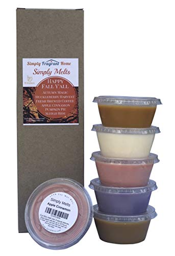 Scented Wax Melts Variety Pack - Hand Poured Natural Soy Candle Wax Melts for Warmers, 6 Resealable Cups (2.2 oz Each, 13.2 oz Total), Up to 40 Hours of Scent Throw Per Quarter Cup (Happy Fall Yall)