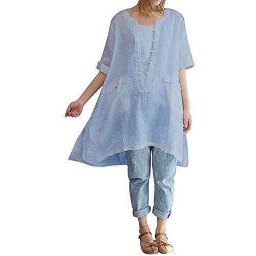 VIASA Women Summer Sexy Plus Size Irregular Fashion Loose Linen Short Sleeved Shirt Vintage Blouse (L, Gray) ()