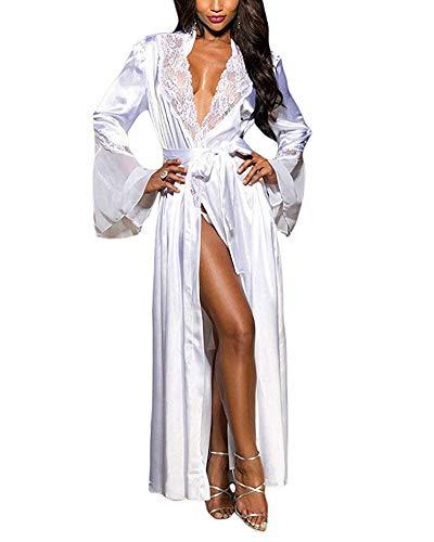 (XAKALAKA Womens Long Robe Kimono Satin Gown Lingerie White XL)