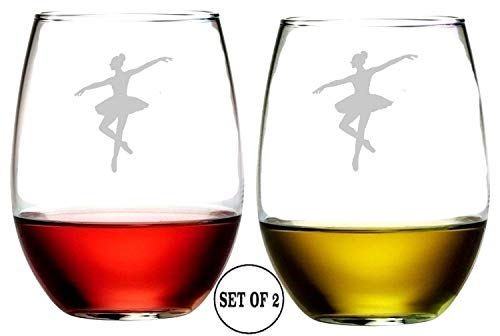 (Ballet Dancer Stemless Wine Glasses | Etched Engraved | Perfect Fun Handmade Present for Everyone | Lead Free | Dishwasher Safe | Set of 2 | 4.25