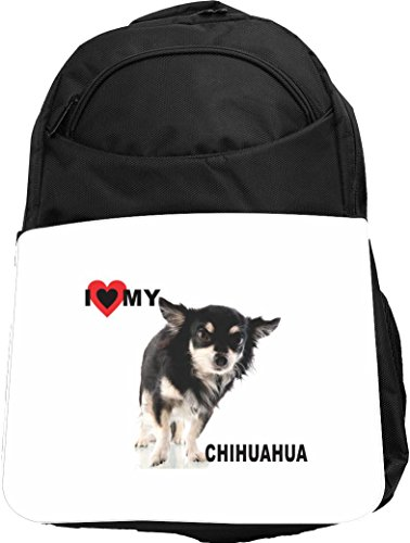Puppy Love Backpack (Rikki Knight UKBK I Love My Black Chihuahua Puppy Dog Tech BackPack - Padded for Laptops & Tablets Ideal for School or College Bag BackPack)