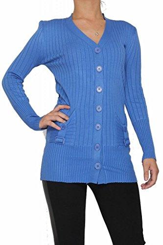de las mujeres de la manga Nuevo estilo de algodón acanalado con cinturón completo abotonado delgada Cardigan. (Un tamaño, (8-14)) Azul