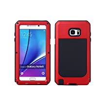 Samsung Galaxy Note 5 Aluminum Metal Case,[Military Heavy Duty]Extreme Water Resistant ShockProof /Dust/Dirt/Snow Proof Durable Glass Protection Cover Case Defender Coque Housse Étui (Red)