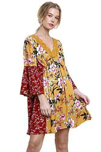 (Umgee Women's Multi Floral Bell Sleeve Crochet Babydoll Dress (2X, Mango Mix))