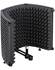Mic Sound Absorbing Foam Microphone Isolation Shield Soundproof Cover Guard Plastic Microphone Soundproof Screen Black Three-Door