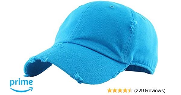 Amazon.com  KBETHOS Vintage Washed Distressed Cotton Dad Hat Baseball Cap  Adjustable Polo Trucker Unisex Style Headwear (Vintage) Aqua Adjustable   Sports   ... abcd732584f