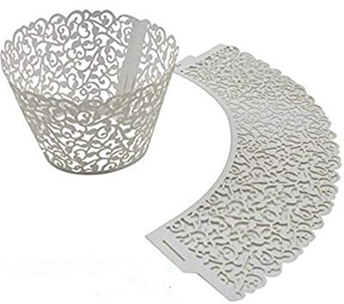 100pcs Pearly Paper Filigree Vine Lace Cupcake Wrappers Wraps Cases Wedding Birthday Decorations (White)