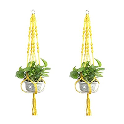LANGUGU Set of 2 Macrame Plant Hanger Nylon Rope Wall Hanging Planter Basket for Indoor Outdoor Flower Pot Plant Holder Wall Art Vintage-Inspired Home Decor, with Metal Ring 4 Legs 39 inch (Yellow): Garden & Outdoor