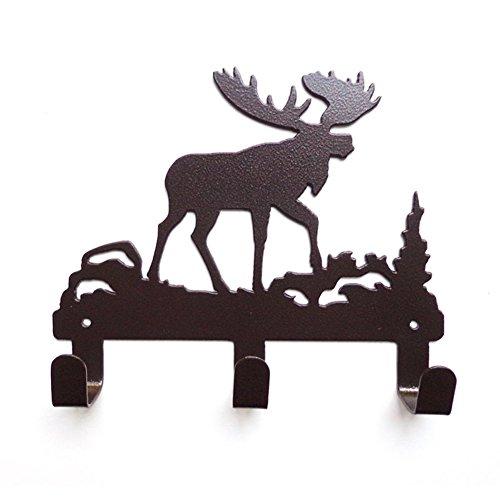 YOURNELO Cute Ironwork Cartoon Characters Animals Art Wall Mounted Decorative Coat Rack Hooks (Moose Brown) by YOURNELO