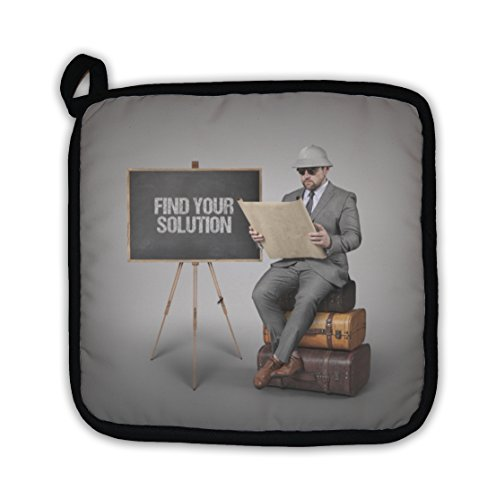 Gear New Find Your Solution Text On Blackboard With Explorer Businessman Pot Holder From Gear New Accuweather Shop