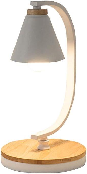 Lámpara de mesa E27 blanco metal y madera luz de lectura diseño ...