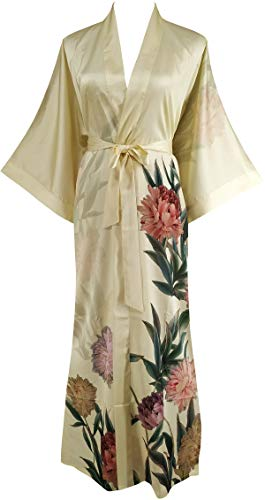 Ledamon Women's Silk Satin Kimono Long Robe - Classic Floral Nightgown Bathrobe Sleepwear (Light Yellow)