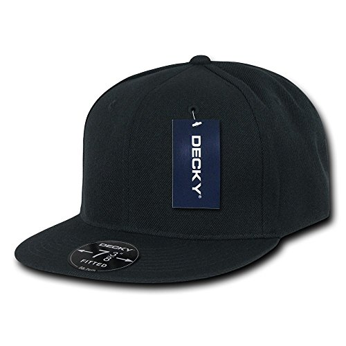 Fitted Flat Brim Cap - DECKY Retro Fitted Cap, Black, 7 1/4
