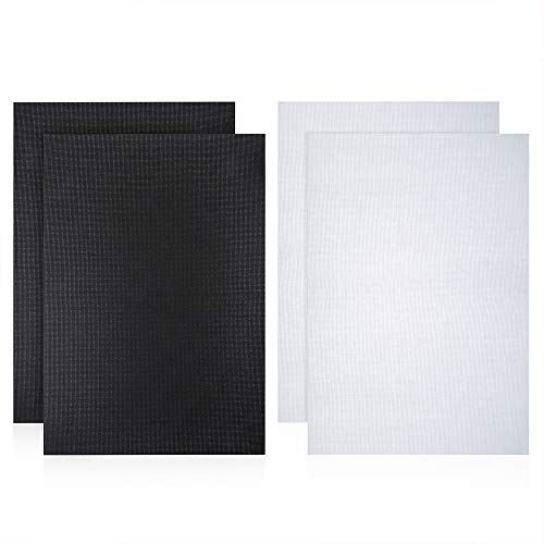 Caydo 4 Pieces Cross Stitch Cloth 14 Count Classic Reserve Aida Cloth, 18 by 12-Inch, White and Black - $20.99