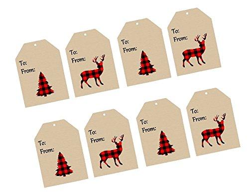 CakeSupplyShop Christmas Holiday Lumberjack Red & Black Buffallo Plaid Collection (32pack Gift Tags)