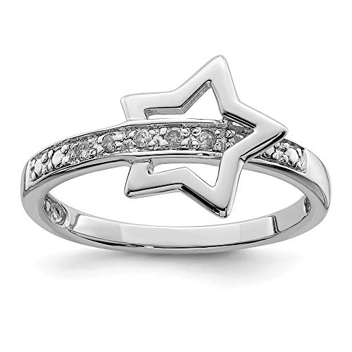 FB Jewels Solid Sterling Silver Rhodium Plated Diamond Star Ring Size 8