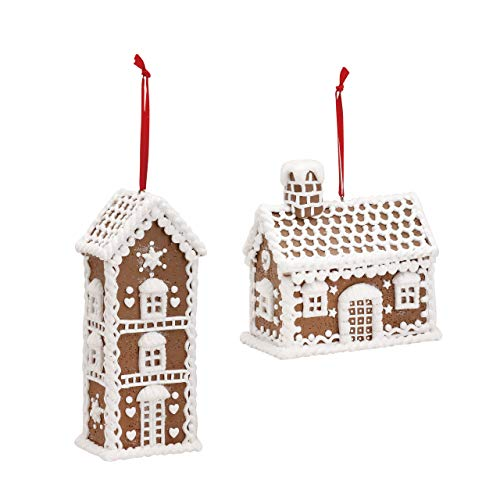 House Ceramic Hanging Christmas Ornaments Assorted Set of 2 ()