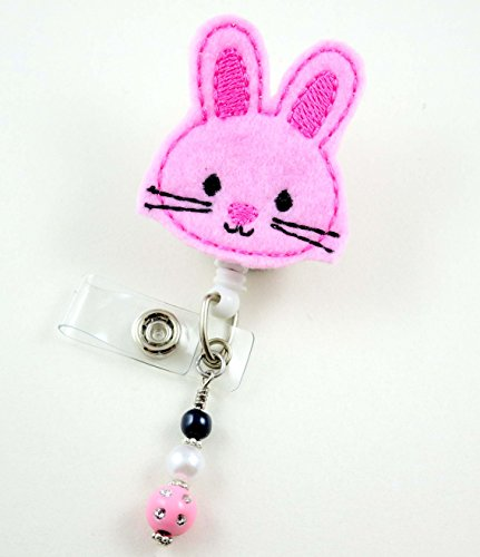 Pink Easter Bunny - Nurse Badge Reel - Retractable ID Badge Holder - Nurse Badge - Badge Clip - Badge Reels - Pediatric - RN - Name Badge Holder