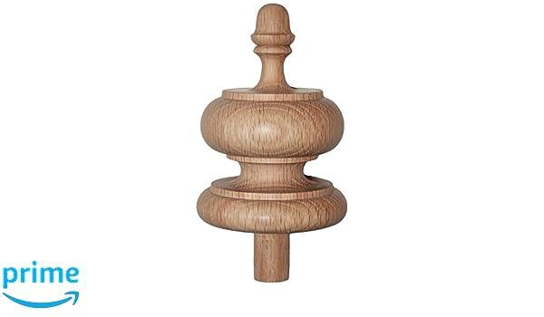 Staircase Finial Newel Post Cap FN-0105 4 1//4 H X 3 1//4 W Red Oak Wood