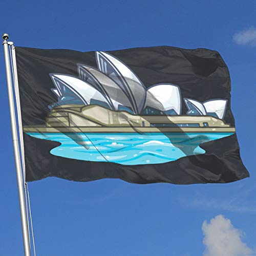 TAOHJS76 Printed Home Backyard Garden Flag Sydney Opera House 100% Polyester Single Layer Translucent Flags 3 X 5