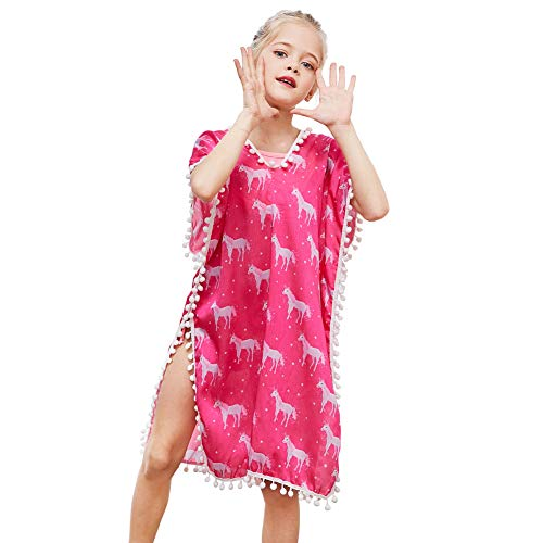 Beinou Cover Ups Unicorn V-Neck Swim Dress for Toddler Girls with Pompom ()