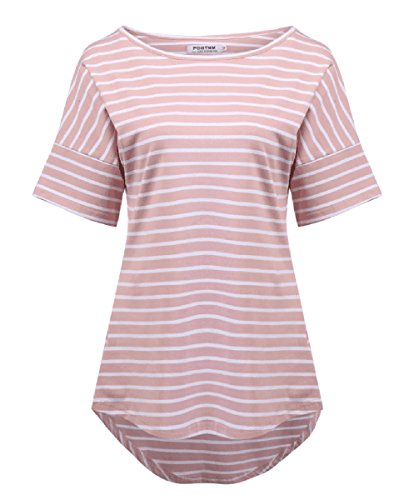Women's Casual Raglan Short Sleeve Patchwork Striped Cotton Shirts Loose T-Shirt Tunic Tops (Pink, US S(4-6))