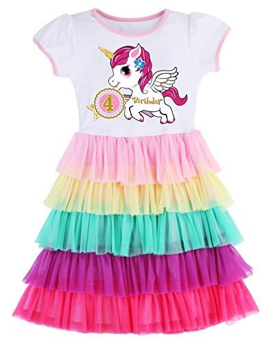 PrinceSasa Elegant Girls Dress Unicorn Rainbow Party White Cupcake Short Sleeve Spring Dress for Princess Toddler Birthday Outfits Dresses,5T19B,3-4 Years(Size 110) -