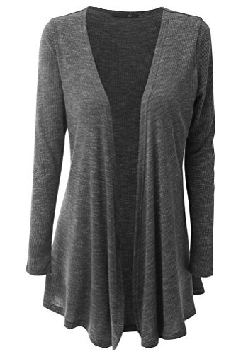 Womens Plus Size Flyaway Open Front Basic Comfy Cardigan Sweater 3XL Dark Grey