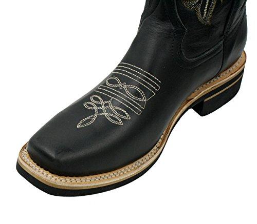Dona Michi Heren Echt Rund Leer Vierkante Neus Western Cowboylaarzen Zwart Zwart