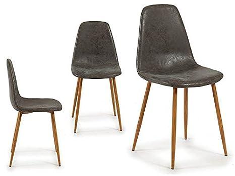 Takestop set sedie sedia cuoio pelle cm chic design