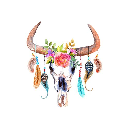 bjlongyi Vintage Art Painting on Wall,Catcher Deer Head Skull Feather Style Frameless Painting Home Decor 3# 50x70cm -