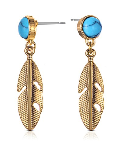 XZP Retro Boho Earring Sand Color Faux Turquoise Small Feather Drop Earrings for Women Jewelry Gift