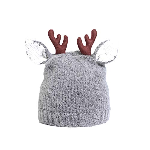 SmileyUS Cute Reindeer Antlers Baby Beanie Soft Warm Crochet Knitted Hat for Toddler Girls Boys 6-36 Months (Gray)