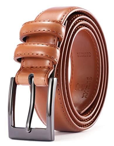 XHtang Men Genuine Leather Dress Belt with Single Prong ()