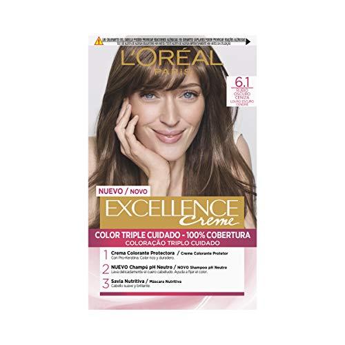 🥇 L'Oréal Paris Excellence Creme Tinte Tono 6.1 Rubio Oscuro Ceniza – 50 ml