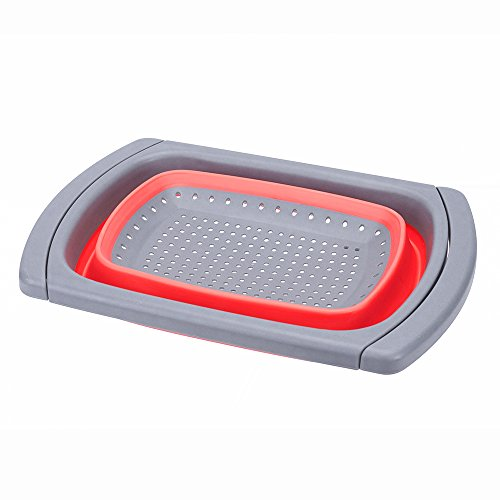 Glotoch Kitchen Collapsible Colander, Over The Sink Strainer With Steady Base For Standing, 6-quart Capacity, Dishwasher-Safe,BPA Free (Red&Grey) by Glotoch Express (Image #2)