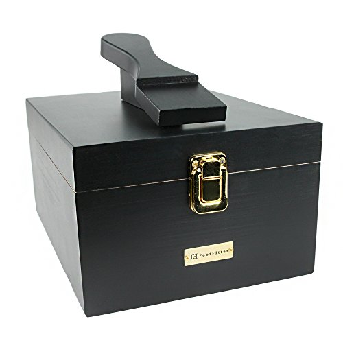 FootFitter Shoe Shine Valet Box with Shoe Rest - Genuine Hardwood Box for Shoe Care Supplies!